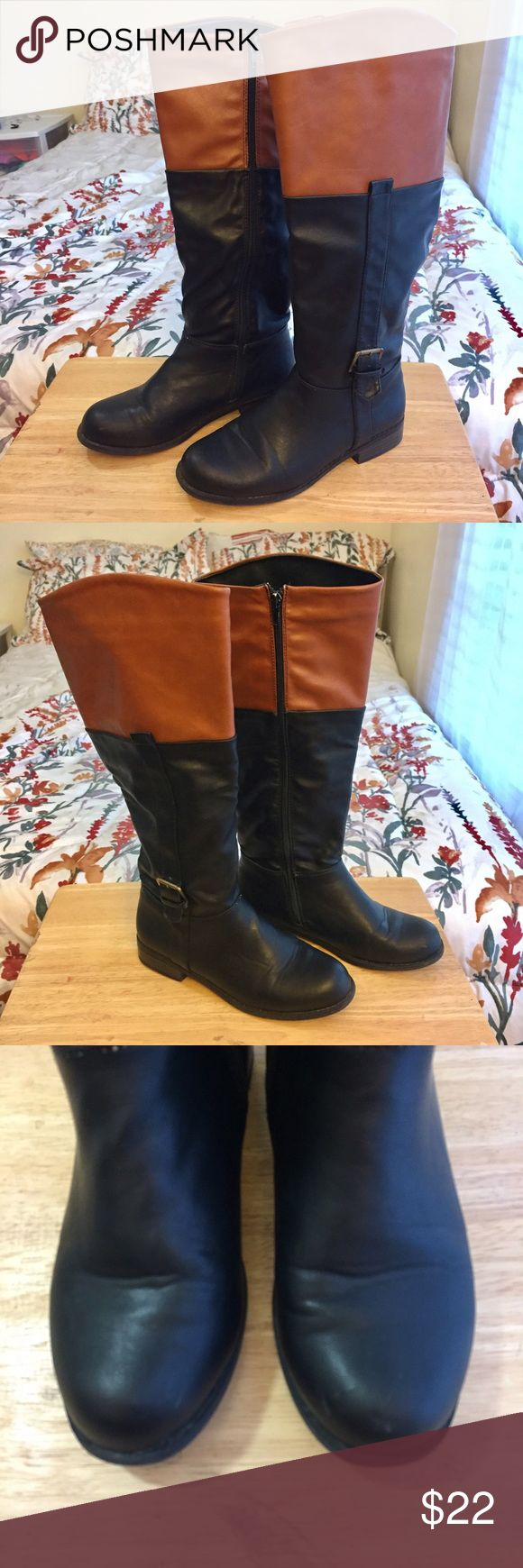 Charlotte Russe | Two Tone Black/Camel Riding Boot Charlotte Russe | Two Tone Black/Camel Riding Boots. Zipper Close for easy on/off, retail price $42.50. Has been worn ~8 times and still is in great condition with only minor creases in the front! Original box included Charlotte Russe Shoes Over the Knee Boots