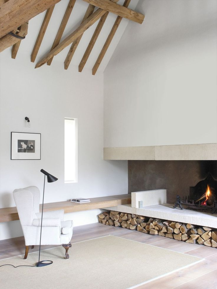barn conversion minimal fireplace