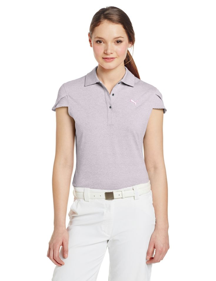 Overlap Tulip sleeve detail on this womens NA micro stripe golf polo shirt by Puma provides a feminine touch and increased airflow under the arms