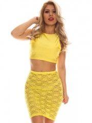 Sexy Yellow Two Piece Sheath Dress Lace See Through Dress