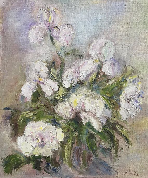 *TITLE: White Flowers  *SIZE: 50 cm x 60 cm.  *HAND-PAINTED: All paintings in…