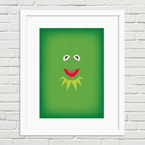 The Muppets Minimalist Poster Kermit  Vintage Retro by TheRetroInc, $14.00 Vintage Retro Minimalist Style Poster Wall Art TheRetroInc.com @The_Retro_Inc