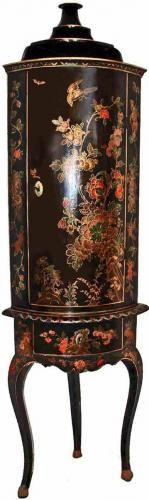 An Extremely Rare Early 18th Century Queen Anne Corner Cabinet with c-scrolls floral and foliate decorative motif in red, green and gold tones on a black lacquer field, the whole raised on a conforming stand with cabriole legs with pied de biche feet