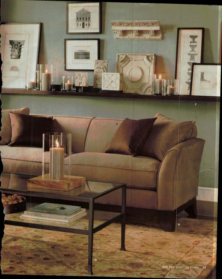 Love the candles ledge from older pottery barn catalog for Decor over couch