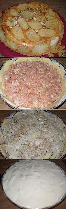 Быстрый Сытный пирог - это потрясающе . Ингредиенты: -4-5 картофелин -2 луковицы -1 окорочок -2 яйца -100 г сметаны (кефира) -100 г майонеза -1 ст.муки -0,5 ч.л. соды  На смазанную маслом и присыпанную мукой (паниров.сухарями, манкой) форму, дно+боковушки, выкладываем картошку круглешами, присыпаем солью; затем мясо + соль, перец; лук +соль, перец Заливаем тестом: соединяем яйца +соль +сметану +майонез +муку +соду. Выпечь в нагретой до 180-190*С духовке 45-50 минут. Перевернуть пирог на…