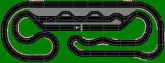 Slot car track layout, great pit lane too