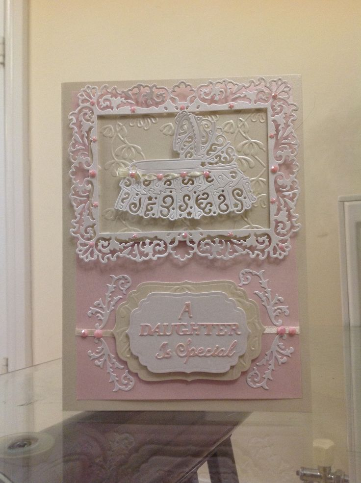 Lace Card Making Ideas Part - 47: New Baby Girl Card Made Using Tattered Lace Dies And Spellbinders Tag Dies.  The Flourishes