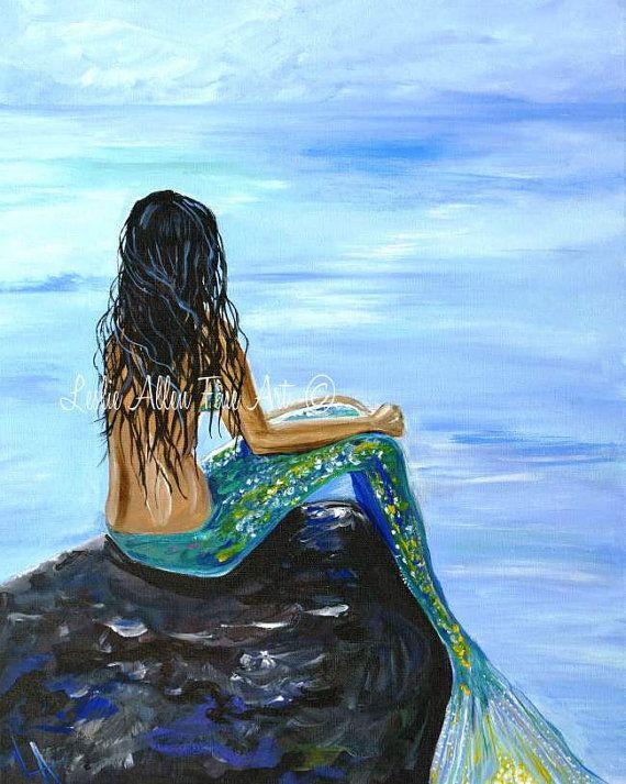 "Mermaid Art Mermaids Woman ART PRINT Wall Art GICLEE Ocean  Sea Art Decor Sea Mythical  ""Bright Mermaid Magic""  Leslie Allen Fine Art"