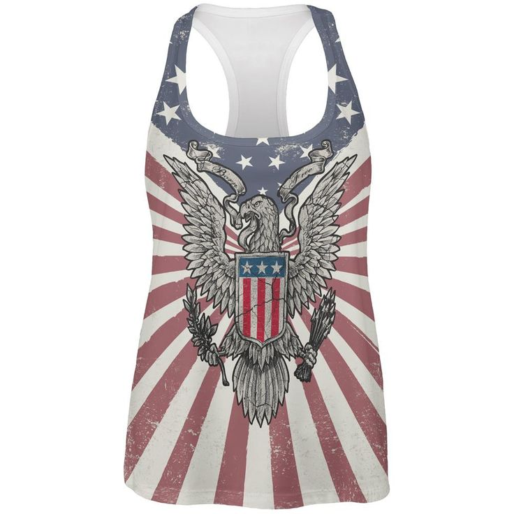 4th of July Born Free Distressed American Eagle All Over Womens Work Out Tank Top