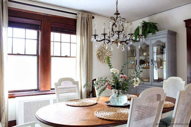 How we transformed our dining room on a budget from dark to light, bright and French casual.