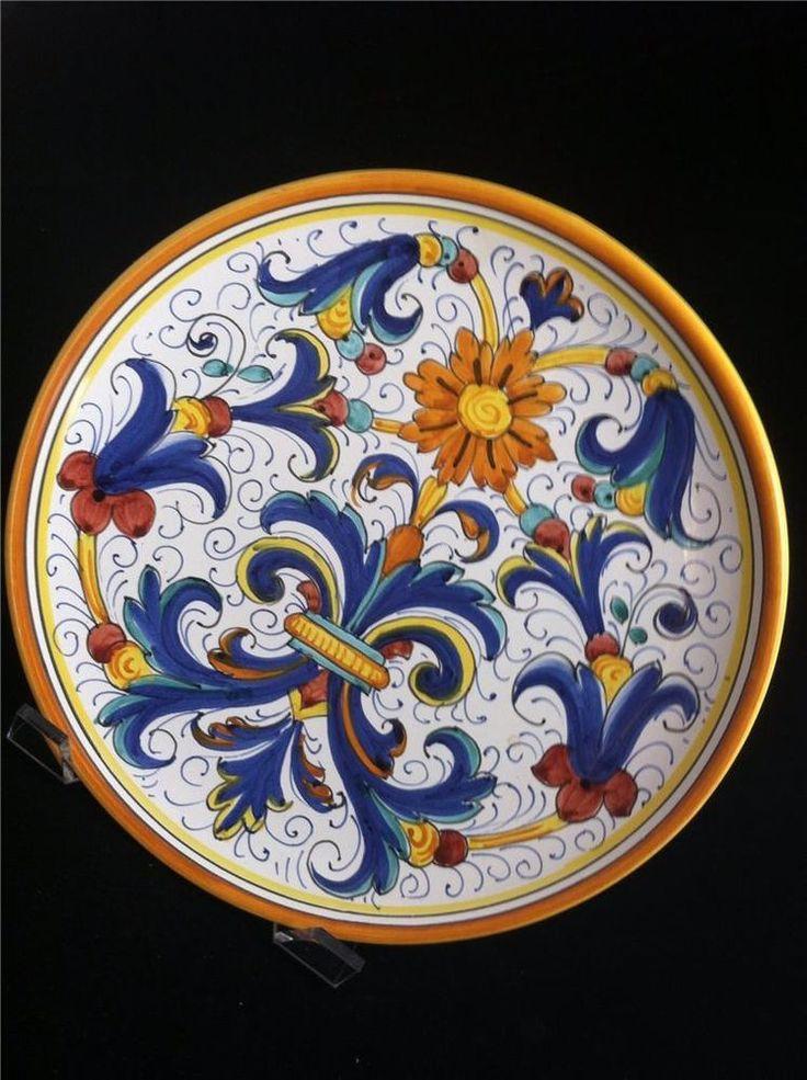 """Italian Pottery Majolica Ricco Deruta Signed Plate 10"""""""