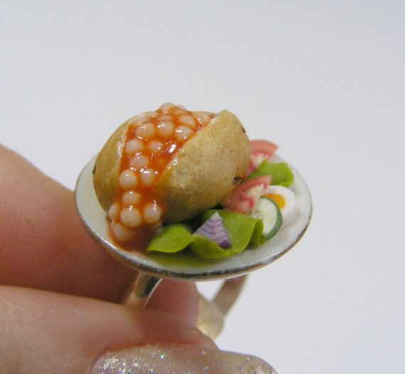 Baked Potato with Beans and Salad Miniature Food Ring - Miniature Food Jewelry
