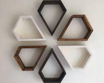 Schap, plank, muur planken, geometrische planken, kunst aan de muur, display rekken, moderne plank, shabby chic, boho, hout kunst, hippie drijvende