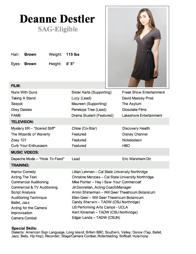 acting and modeling resume template