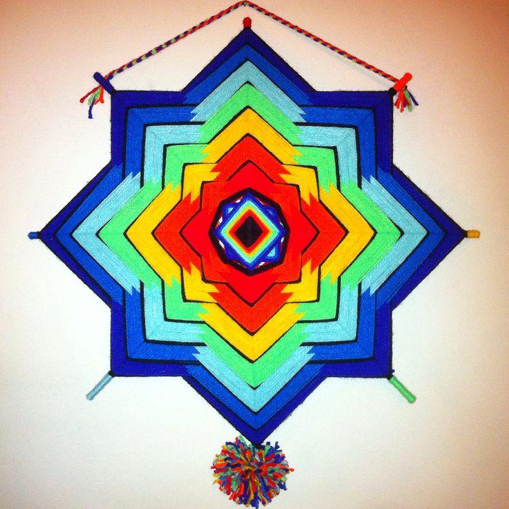 Ojo de Dios inspirado en el Prisma, los 7 chakras y los 7 colores del arcoiris.