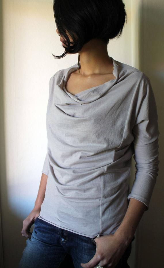 ladies casual jersey top SEWING PATTERN with cowl neckline and narrow sleeves in two lengths