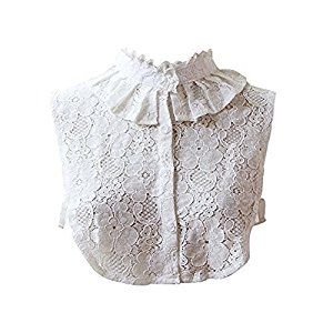 Victorian Blouses, Tops, Shirts, Vests Angel Sweet Womens Lace Stand Peter Pan Detachable Fake Collar Cuff Cotton Choker Tie White Vintage Detachable Half Shirts Blouse Dickey $8.99 AT vintagedancer.com