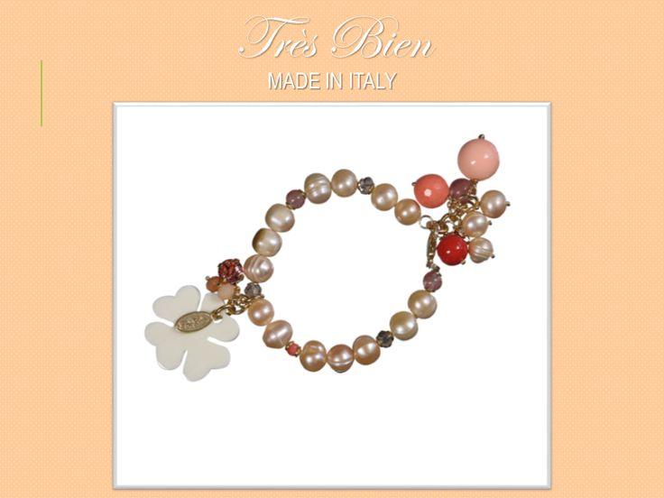 Bracciale Perle di Fiume,Perle Vitree,Pasta di Corallo, Rodocrosite, Swarovski e Cristalli. #Fashion #bijoux #bracciale