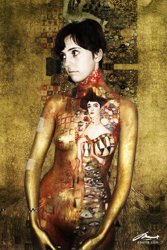 portrait of Adele Bloch Bauer body painting by Danny Setiawan of DEN ART NY studio. Another tribute to Gustav Klimt