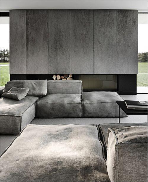 modern concrete fireplace