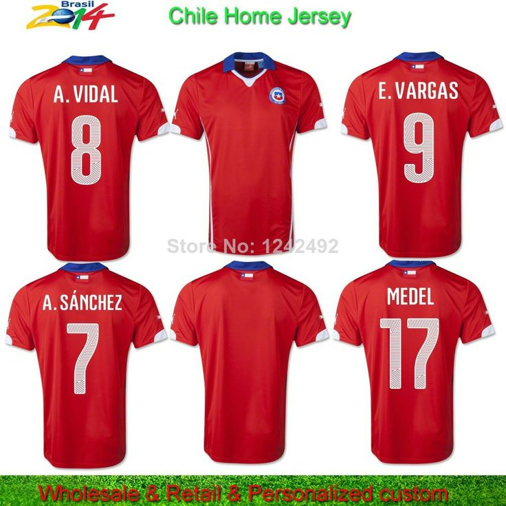 2014 Top Thailand Brazil Jersey Chile Team Uniform Home Men Football Soccer Jersey+Shorts Training  CUSTOMIZE T-shirt
