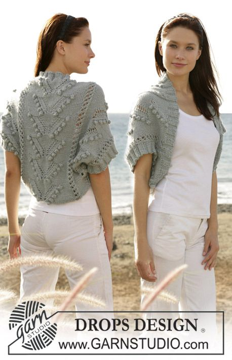 """DROPS shrug knitted in bobble and lace pattern with """"Silke-Alpaca"""". Size S - XXL ~ DROPS Design"""