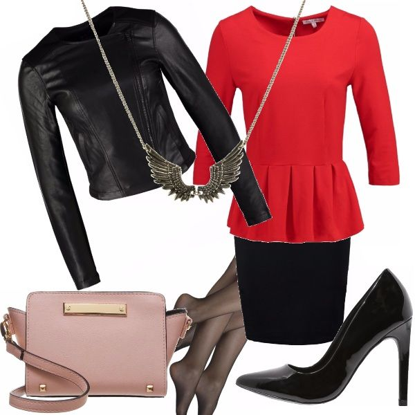 Potrebbe essere scambiato per un vestito, ma è un due pezzi...gonna aderente nera che mette in risalto il colore rosso corallo e lo stile della maglietta. Per renderlo più grintoso abbiniamo una giacca di pelle aderente e corta, che arrivi sopra le pieghe della maglietta, Una décolleté nera lucida, con delle calze nere velate. Una borsa a tracolla in uno splendido rosa chiaro e una collana con ciondolo ad ali. Elegante ma Rock!