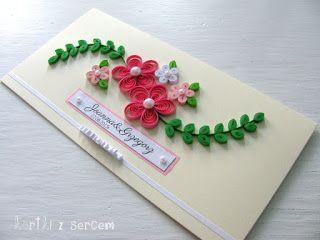 Kartki z sercem, quilling idea, inspiration, quilling card, kartka, cardmaking, flowers, ribbon, bow, cream, beige, green, pink, wedding, ślub