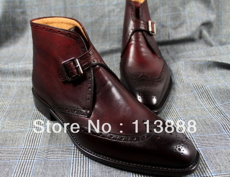248.00$  Watch now - http://alisaz.worldwells.pw/go.php?t=1625372053 - CEB38 -Bespoke Handmade Pure Genuine Calf Leather Boots For Men, Wine Red Classic /Casual British Style Ankle BootsFree Shipping