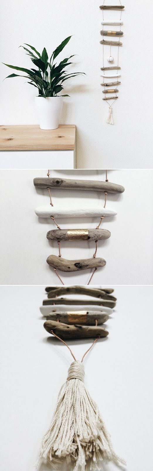 love this driftwood vertical mobile idea from *Miles of Light*