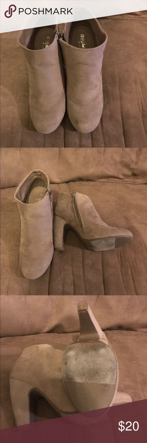Mossimo Taupe Suede Ankle Boots Great neutral ankle boots in GUC. Small scuff on toe. The color goes with everything. Mossimo Supply Co Shoes Ankle Boots & Booties