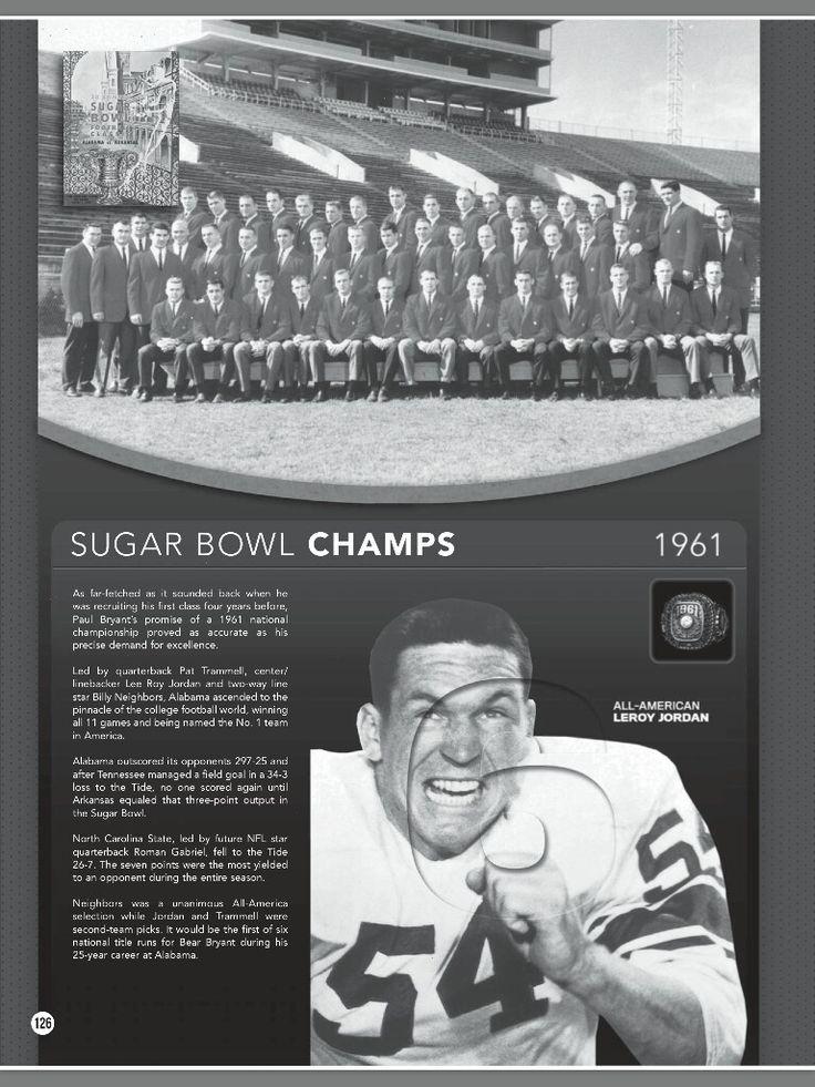 Alabama's title in 1961 featuring Leroy Jordan - from the 2016 Alabama Football Media Guide #Alabama #RollTide #BuiltByBama #Bama #BamaNation #CrimsonTide #RTR #Tide #RammerJammer #2016AlabamaFootballMediaGuide