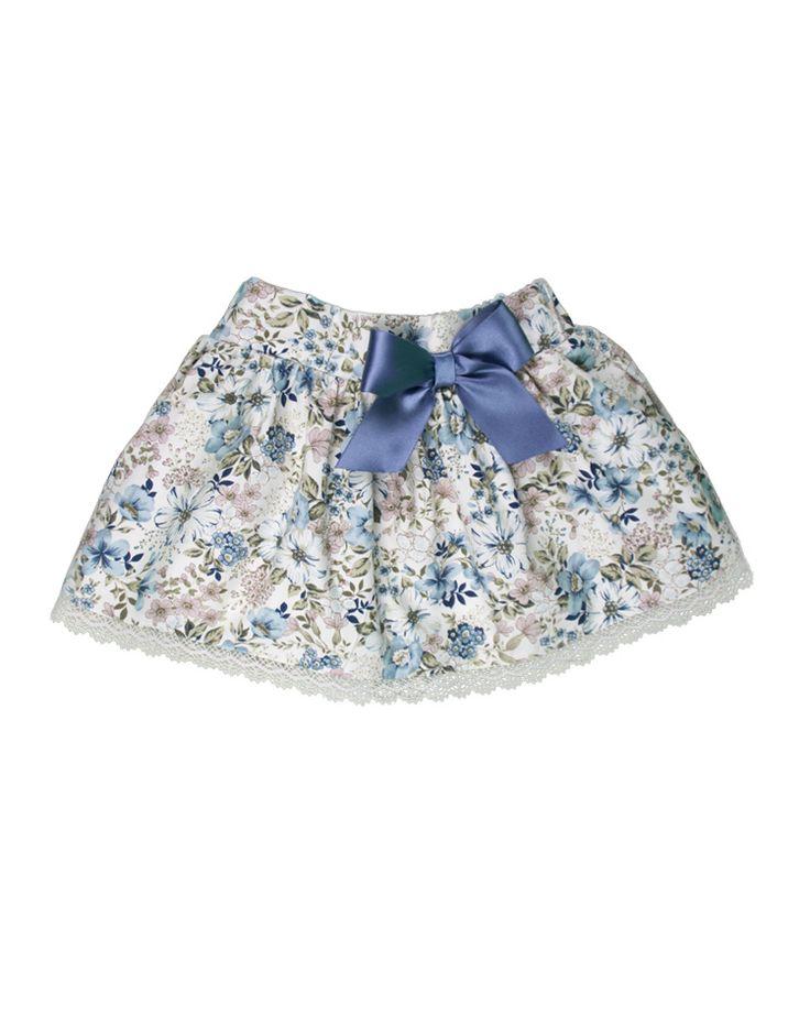 Saia às flores com renda bege e laço cetim azul Tam 2a, 3a, 4a, 6a, 8a e 10 anos