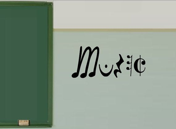 Music Decal in Vinyl  Music Classroom Wall Decals by Greene's vinyl. Greenesvinyl@gmail.com to order.
