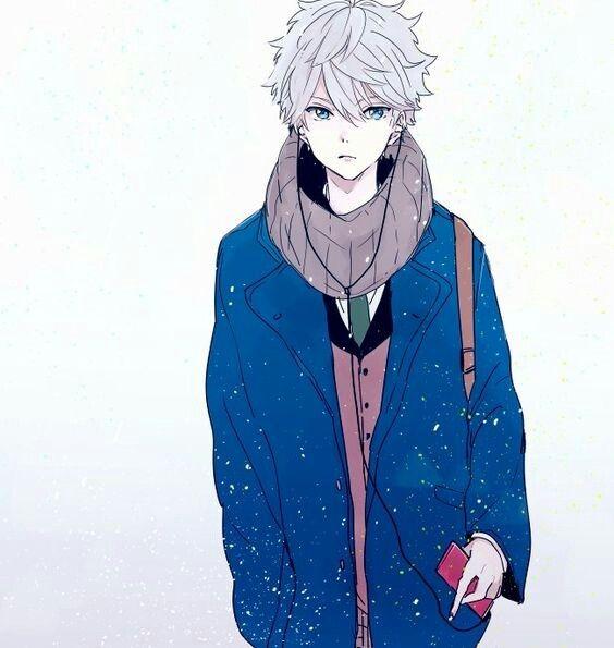 Anime Guy White Silver Hair Blue Eyes Winter Uniform Goryachee Anime Persy Milyj Anime Malchik