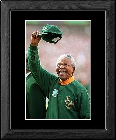 In memory of Nelson Mandela (1918 - 2013). #RIP [Rugby Union - 1995 World Cup - Johannesburg from PA Photos, Rugby World Cup 1995, Rugby Union, Sport Archive c/o Wall Art, Prints and Photo Gifts from Media Storehouse]