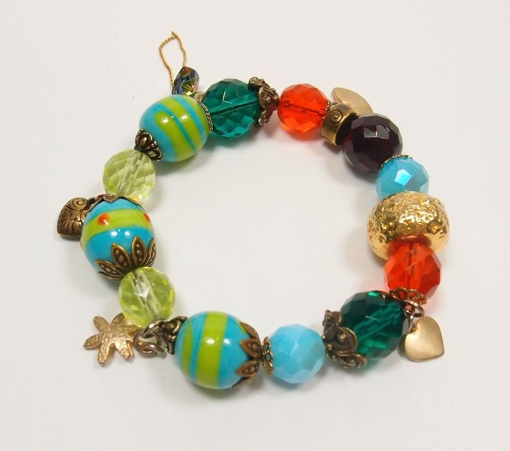 Multi Coloured Glass Bead and Gold Bracelet