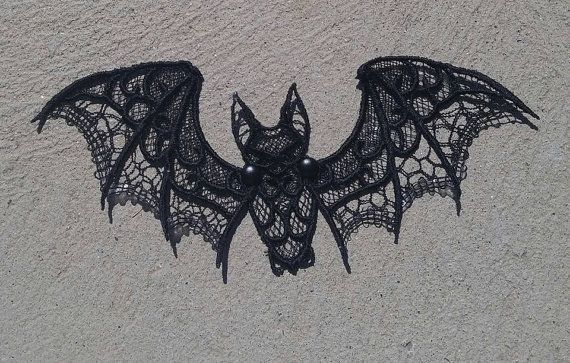 Halloween Bat Black Bat Lace Bat by STRAIGHTEMBROIDERY on Etsy