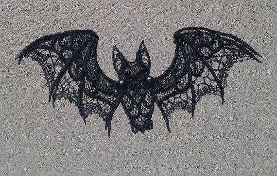 Halloween Bat Black Bat Lace Bat by STRAIGHTEMBROIDERY on Etsy