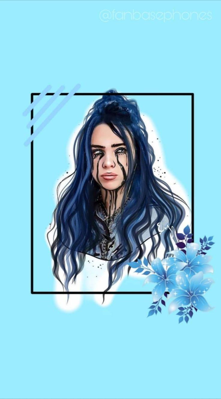 Billieeilish Billie Blue Art Lockscreen Wallpaper