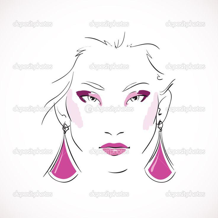 Фронт выразительный взгляд моды женщины — стоковая иллюстрация #39243835