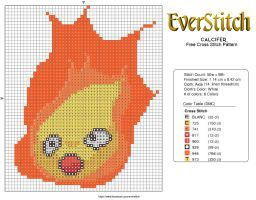 Calcifer Free Cross Stitch Design by EverStitch