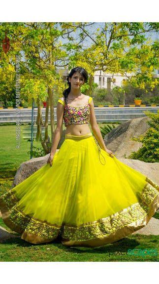 RCPC Yellow Net Lehenga Choli