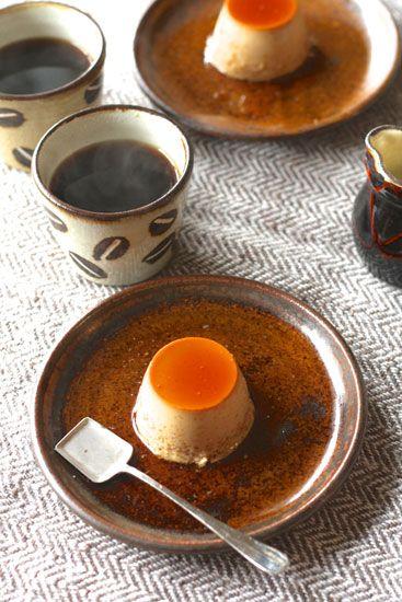 【いただきものの写真】瀬戸の飴色ケーキ皿とプリン♪♪