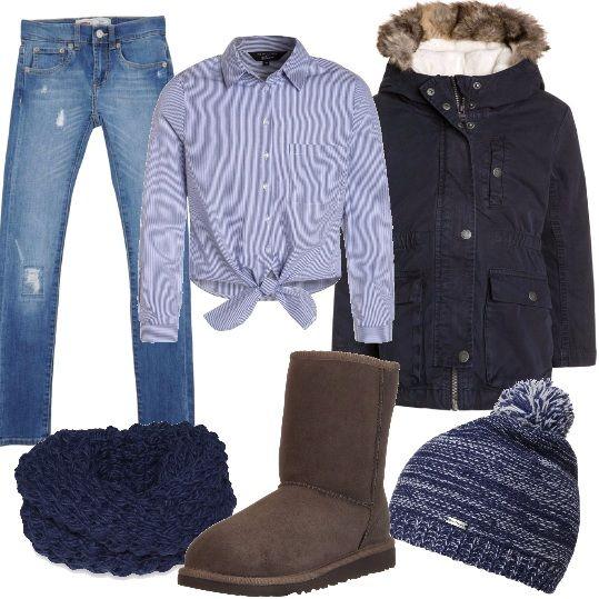 Vestirsi come una ragazza, emularla anche nei dettagli; ho scelto un jeans effetto consumato, lavaggio scuro con zip e bottoni, una camicia a manica lunga con stampa a righe allacciata davanti ed un parka, lunghezza sulla coscia, chiusura con cerniera e cappuccio. Ho abbinato un paio di stivaletti Ugg imbottiti, con fodera in lana, una sciarpa a maglia larga ed un cappello con pon pon perfetto nel mood.