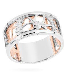 Bague Or 750 blanc et rose 11 diamants