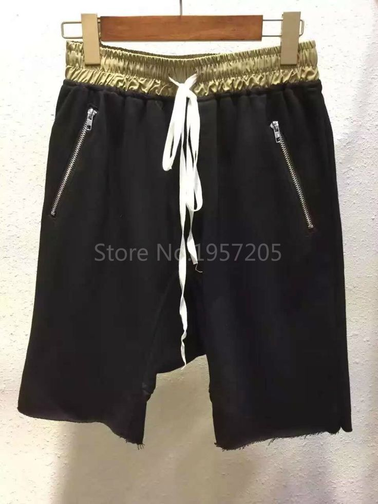 Justin Bieber FOG Drop Crotch Jogger Shorts Hip Hop High Version Contrast Color Design Zippered Pockets Shorts
