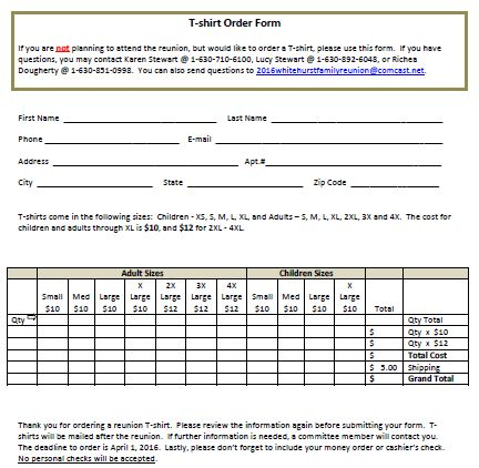 T-Shirt Order Form For Family Reunion