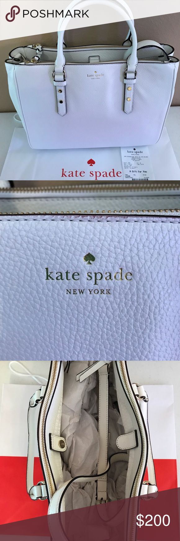 NWT Kate Spade Mulberry Street Leighann - Cement Price brand new in store: $429. Brand new with tags and gift receipt as proof of purchase and authenticity. Includes optional shoulder strap. Beautiful large bag to carry all your daily needs with multiple smaller pouches. This would be a great carry-on/travel bag. Perfect cream color to go with everything in your closet or on your travels!  Approx. dimensions: 14 in (L) x 10.5 in (H) x 6.25 in (W) kate spade Bags Totes