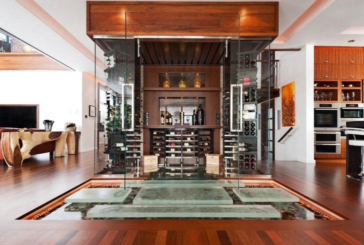 Indoor Ponds under the Stairs: Astounding David Giral Photo Rich Wooden Living With Glass Wine Cellar And Stepping Stone Indoor Pond Design Ideas Also Glass Door Along With White Wall And Ceiling ~ workdon.com Interior Design Inspiration